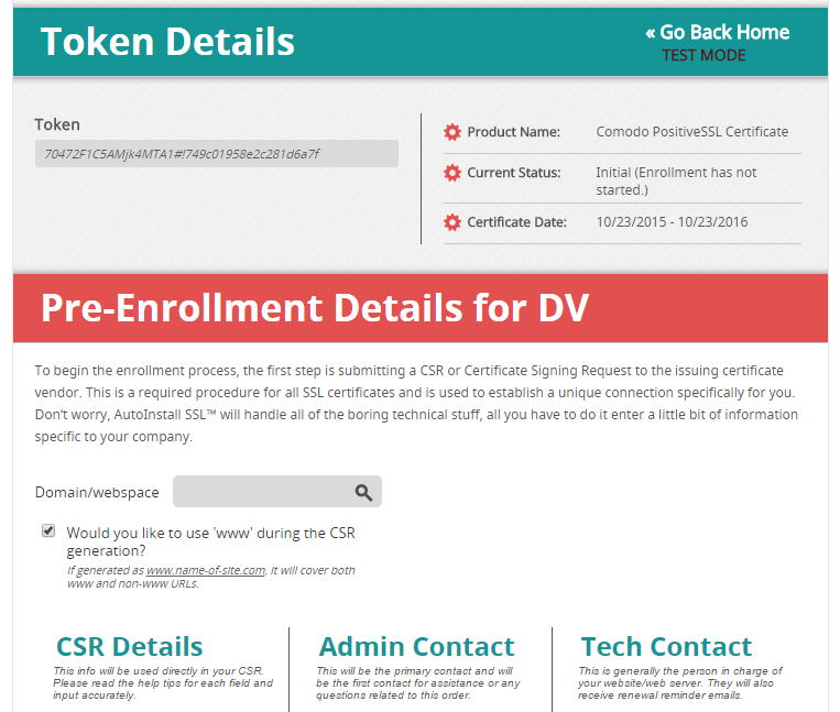 Token Details for SSL