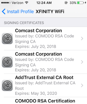 trust manually installed root certificates in iOS