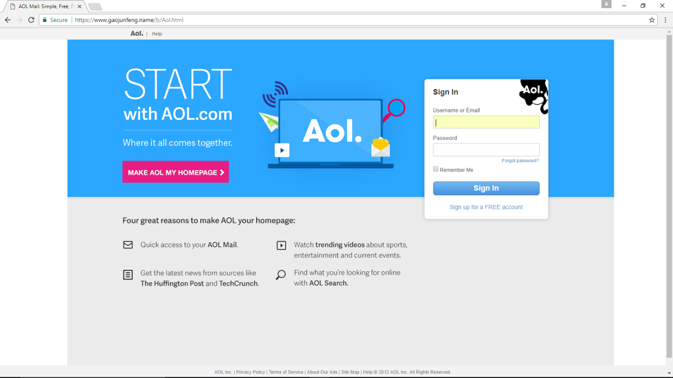AOL HTTPS Phishing Website