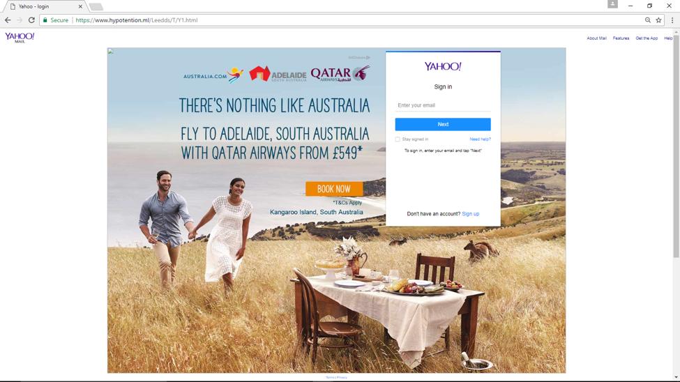 Yahoo HTTPS Phishing Website