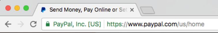 EV Green Address Bar on PayPal.com