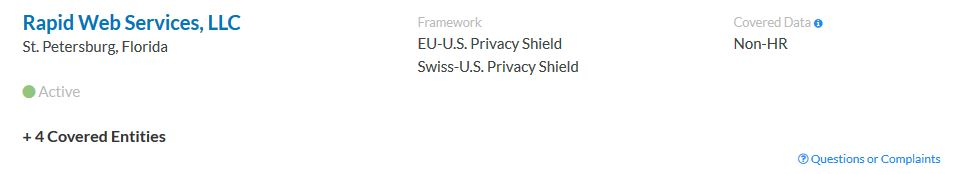 how to spot a fake website, privacy shield list entry