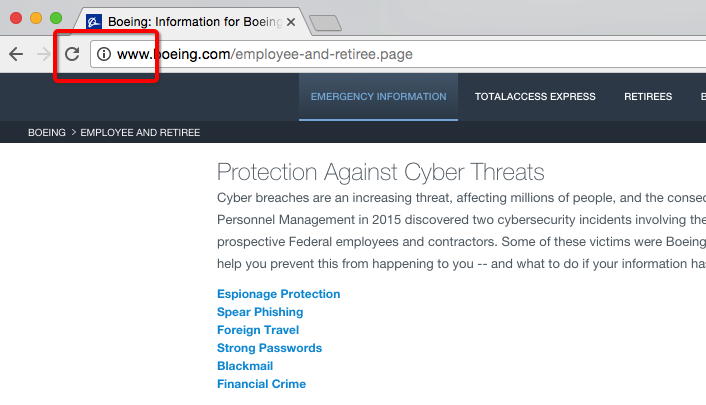 boeing's unencrypted cybersecurity page