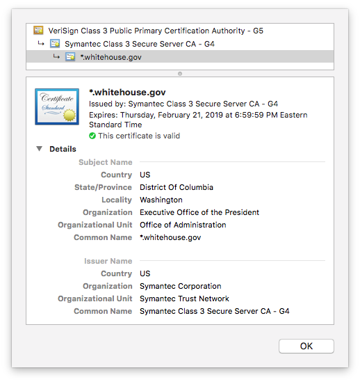 Whitehouse SSL certificate