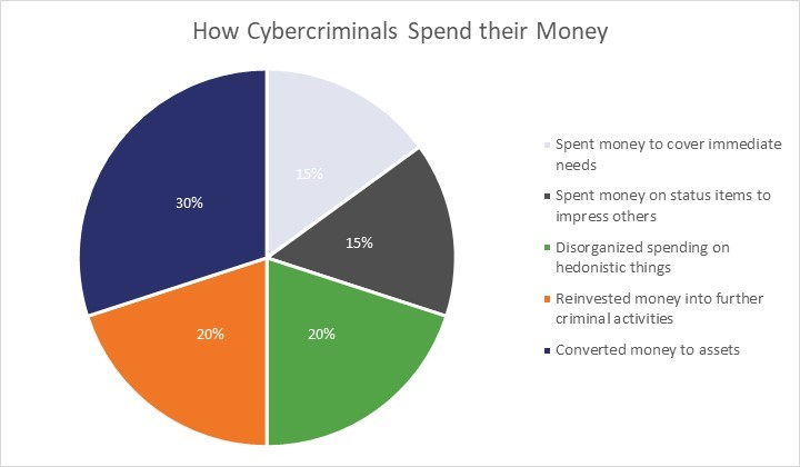 Pie chart showing the different things cybercrminals spend their money on