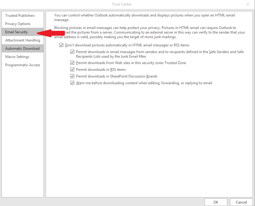 Installing an email signing certificate on Outlook