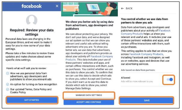 Facebook GDPR privacy settings