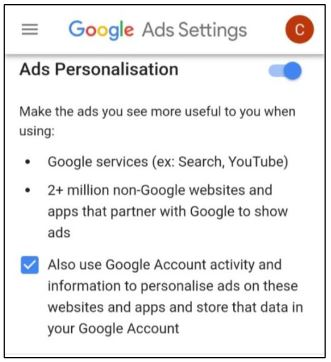 Google ad personalization GDPR notice