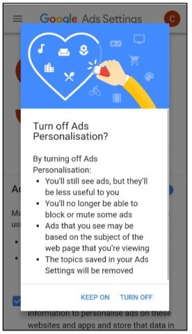 Google personalized ad GDPR notice