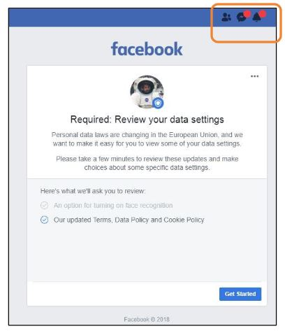 Facebook desktop GDPR prompt
