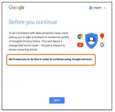 Google desktop GDPR notice