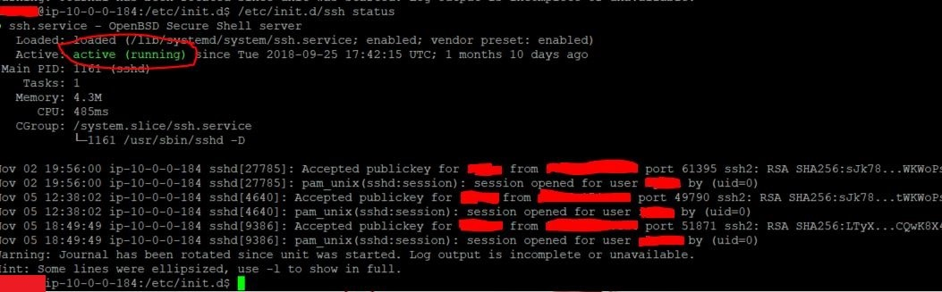 SSH Status