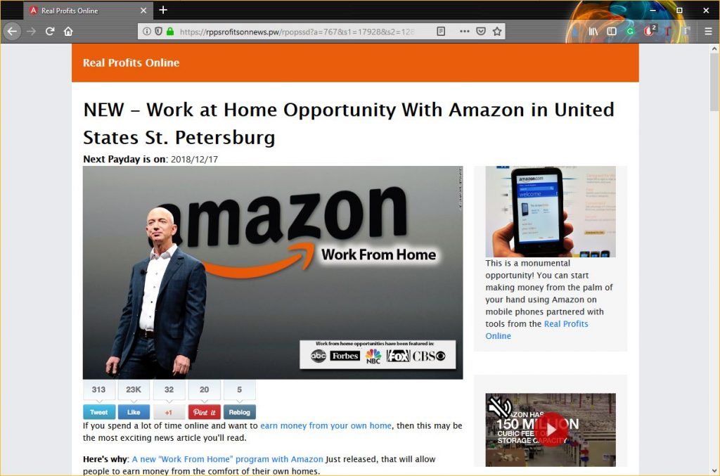 Anatomy of a Scam: Work from home for Amazon