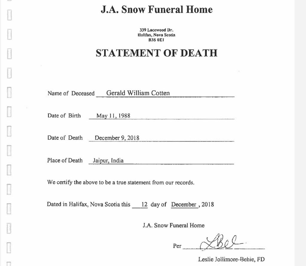 QuadrigaCX death certificate