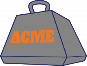 An anvil from the fiction company ACME