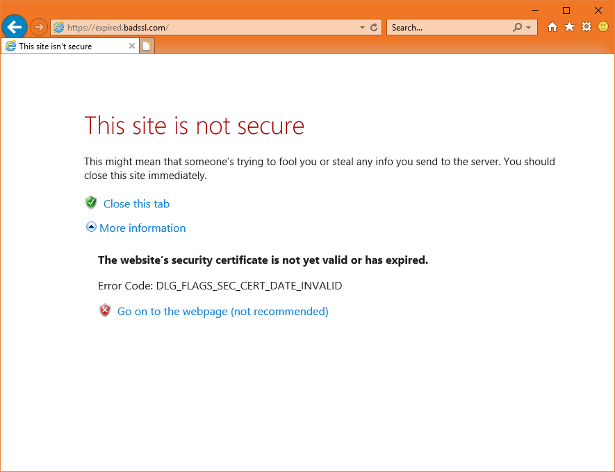 This is what happens when your SSL certificate expires