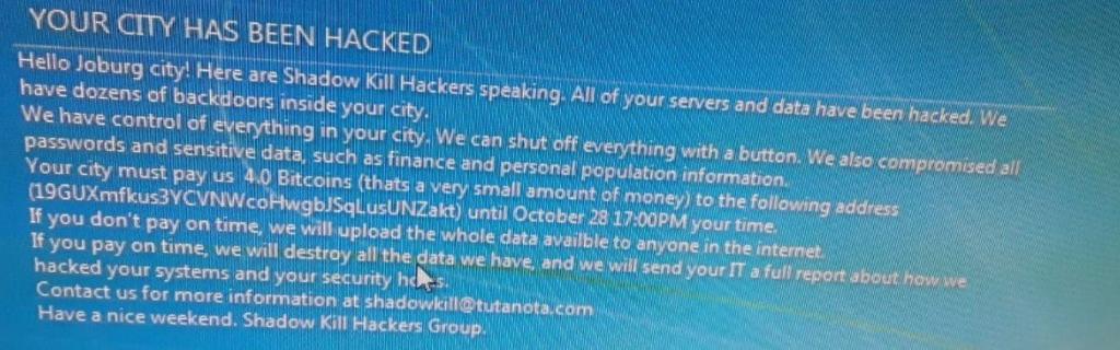 Johannesburg hack demand notice