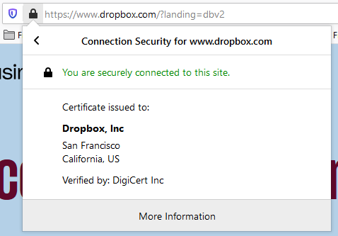 Graphic: Avoid Dropbox phishing scams by checking validity of URLs and site SSL certificates
