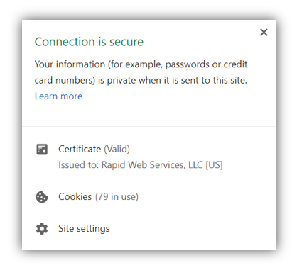 Screenshot: Connection is secure information in Chrome