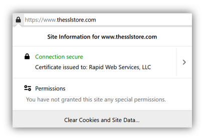 Screenshot: Website security certificate information