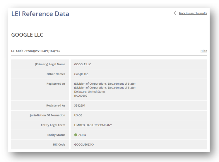 Graphic: Screenshot of Google's legal entity identifier reference data.