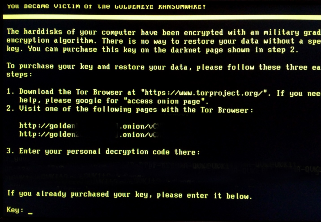 Ransomware screen