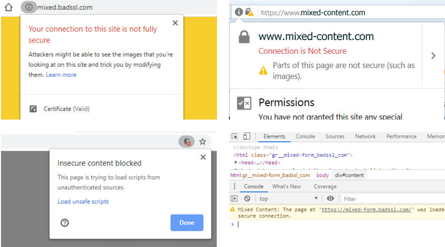 Graphic: A collage of mixed content error messages on websites