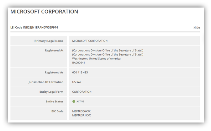 A screenshot of Microsoft corporation's LEI information