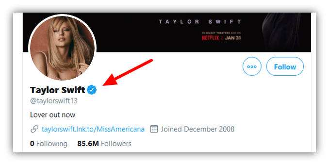 Graphic: Screenshot of Taylor Swift's verified account on Twitter.