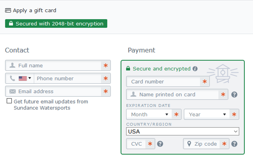 Credit card design checkout example