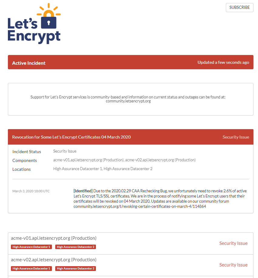 Graphic: security issue errors for Let's Encrypt certificates in cPanel