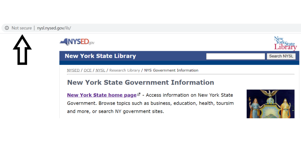 A screenshot of the New York Library's official website using an insecure HTTP connection