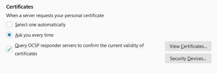 An OCSP screenshot from Firefox of the online certificate status protocol optional settings