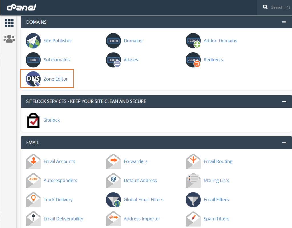 A cPanel screenshot showcasing athe second step in the CAA record creation process