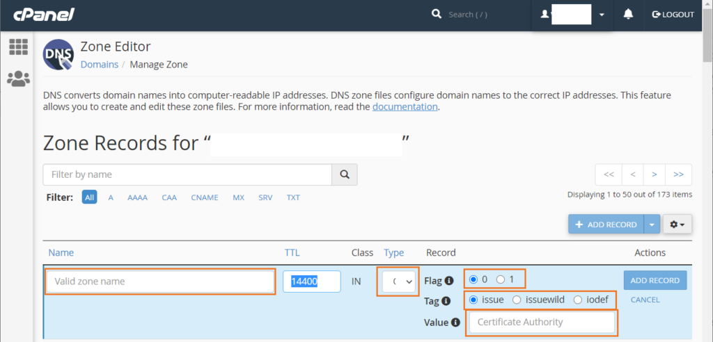 A cPanel screenshot showcasing athe fifth step in the CAA record creation process