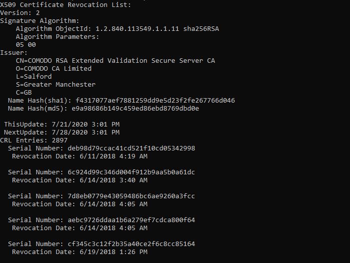 Screenshot of a certificate revocation list (CRL) from Sectigo (formerly Comodo CA).