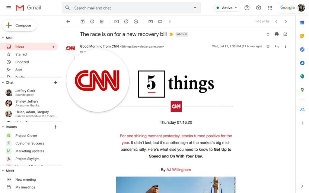 This BIMI graphic is a screenshot of CNN's verified logo displaying in a Gmail inbox