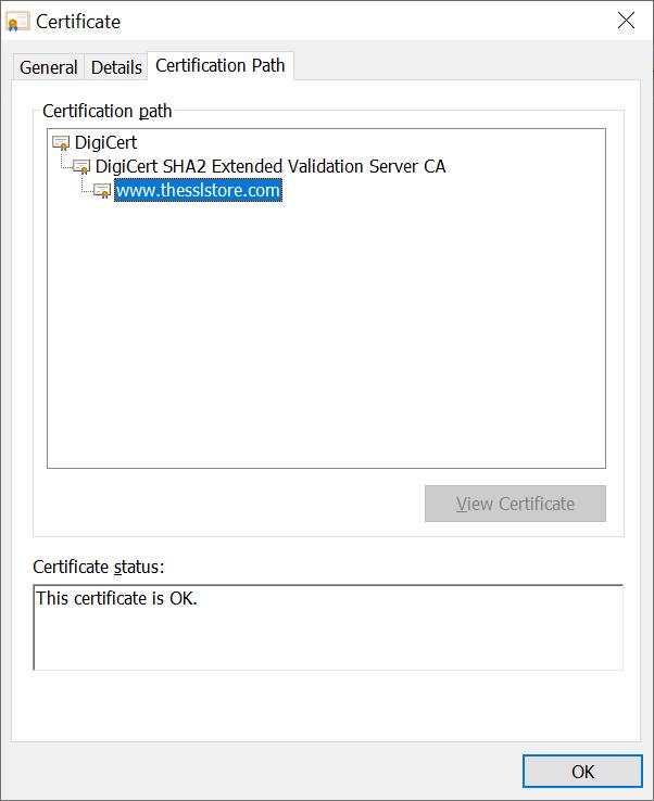 A screenshot of The SSL Store's certificate chain of trust