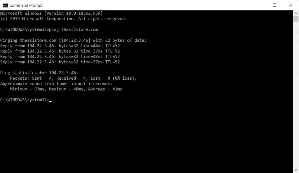 Screenshot of The SSL Store's website IP address