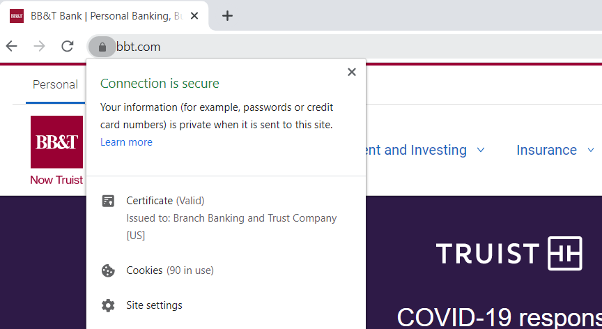 A screenshot of BB&T's website certificate & certificate authority information in Chrome