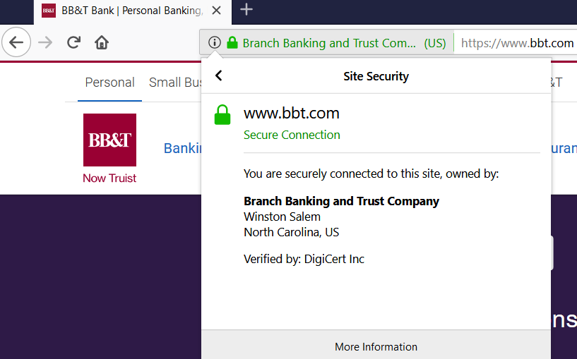 A screenshot of BB&T's website certificate & certificate authority information in Firefox