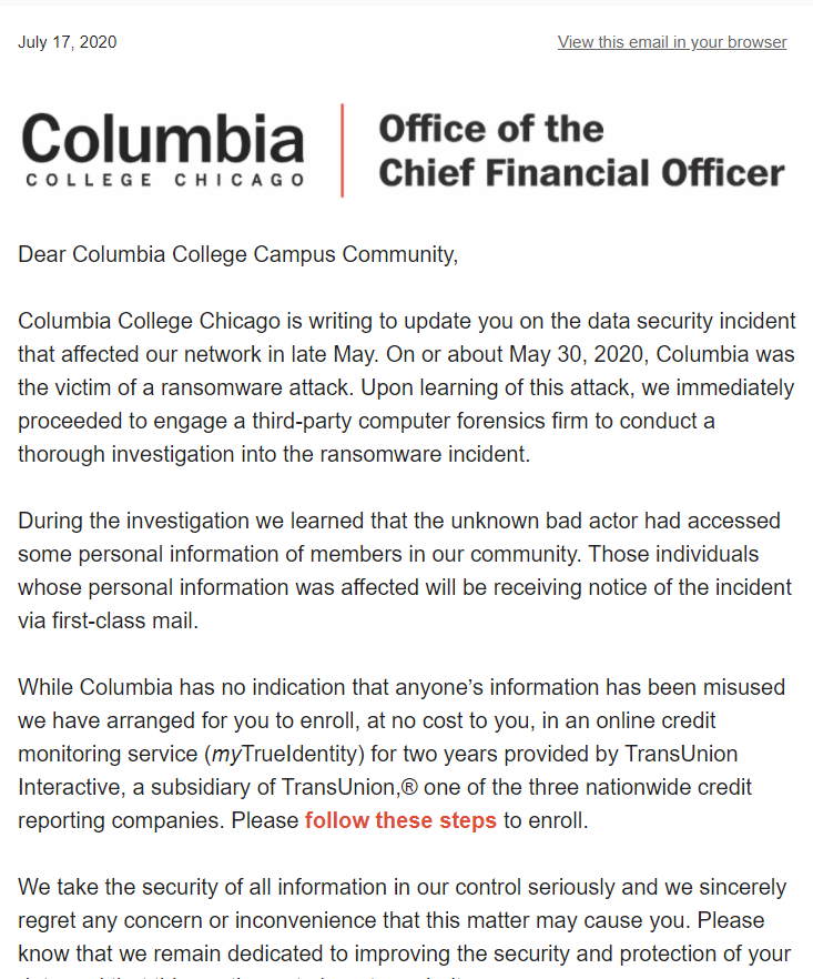 A screenshot of the latest ransomware attack update from Columbia College Chicago