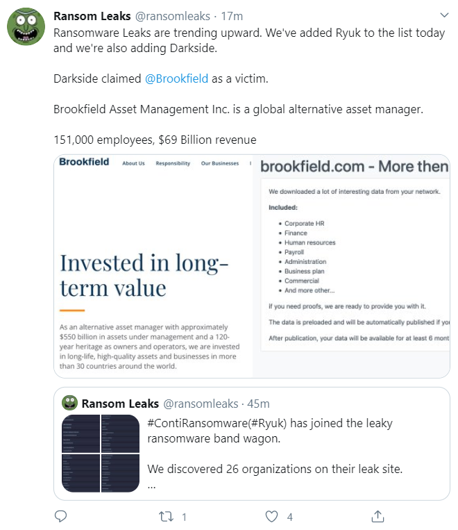 A screenshot of a tweet about recent ransomware attacks against Brookfield Asset Management