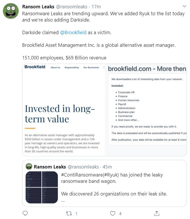 A screenshot of a tweet about recent ransomware attacks against Brookfield Asset Management