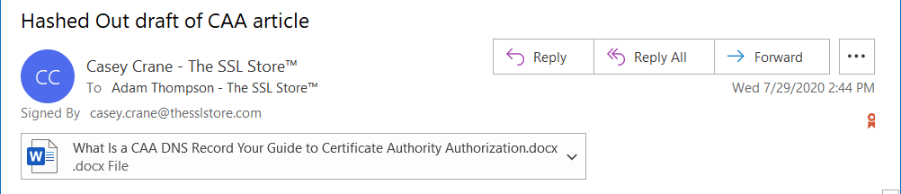 An example of an email that's signed using a certificate from a certificate authority