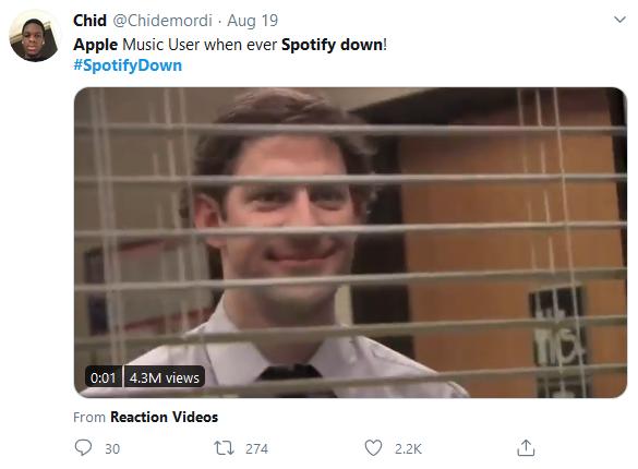Spotify down, Apple Music