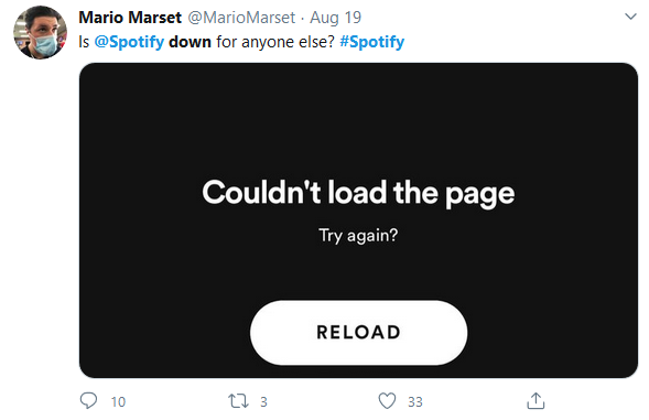 Twitter: is Spotify down for anyone else