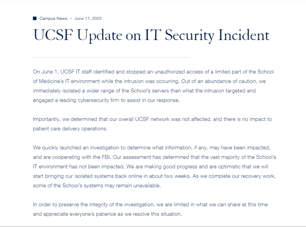 A screenshot of the UCSF ransomware update message on June 17, 2020