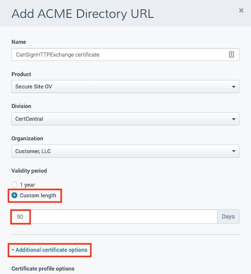 ACME Directory/Certificate Configuration within DigiCert CertCentral