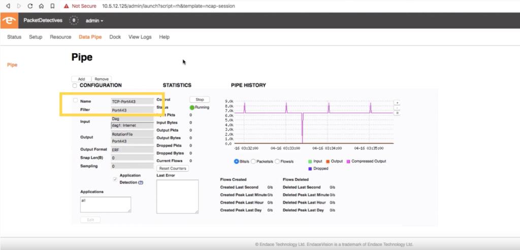 Screenshot of the data pipe on EndaceProbe